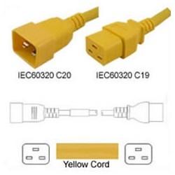 C19-C20 3.0MTR YELLOW POWER   CORD 250V 3 X 1.5MM CONDUCTORS16AMP