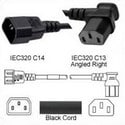 Power Cord C14 Male to C13 Right Female 2.0 Meters 10 Amp 250 Volt H05VV-F 3x1.0 Black