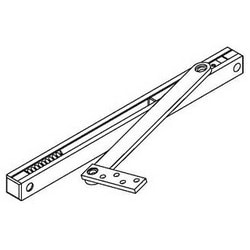 Door Overhead Stop, Adjustable, Heavy Duty, Surface Mount, Satin Stainless Steel