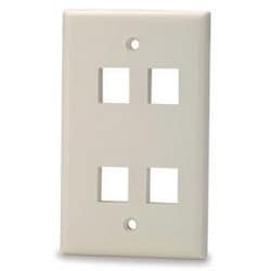 """Keystone Faceplate, 1-Gang, 4-Port, 2.75"""" Width x 4.5"""" Height, Thermoplastic, White, For Keystone Jack and Multimedia Module"""