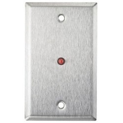 """Wallplate, 1-Gang, 12/24 Volt DC, 19 Milliampere at 24 Volt DC, Stainless Steel, With 1/2"""" Red LED, 6"""" Red/Black Lead"""