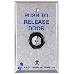 Pushbutton, 1NO-1NC, Wall Mount, 10 Ampere at 120 Volt AC/35 Volt DC, With (2) Key