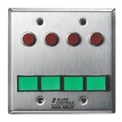 "Latching Switch Monitoring/Control Station, (4) DPDT, 2-Gang, 12/24 Volt AC/DC, 3 Ampere at 120 Volt AC/35 Volt DC, 1/2"" Red LED"