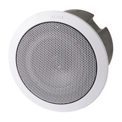 "SIP Ceiling Speaker, Linux OS, 48 Volt, 2 Watt, 55 to 18000 Hertz, 88 dBA, PoE, 9.8"" Diameter x 7"" Height, With Trim Ring"