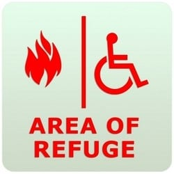 """Wall Sign, Photolumines, 8"""" Width x 0.25"""" Depth x 8"""" Height, For each Area of Refuge Location"""