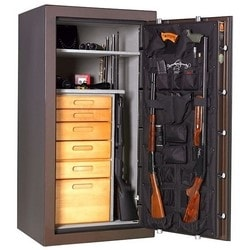 """Gun Safe, Front Load, 90 Minute Fire Safe Label, 30"""" Width x 26"""" Depth x 59"""" Height, Chrome on Black Textured, With Electronic Lock"""