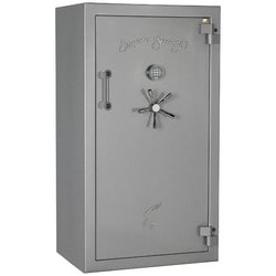 """Fire Rated Burglary Gun Safe, Front Load, 2-Hour Fire Safe Label, 36"""" Width x 26"""" Depth x 65-1/4"""" Height, Chrome on Black Textured, With Electronic Lock"""