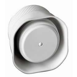 """Dynamic Trumpet Siren, Flat, 6-Tone, Wall/Ceiling Mount, Indoor/Outdoor, 12 Volt DC, 1.2 Ampere, 125 dB, 3.34"""" Length x 3.34"""" Width x 2.16"""" Depth, White, With Mounting Bracket"""