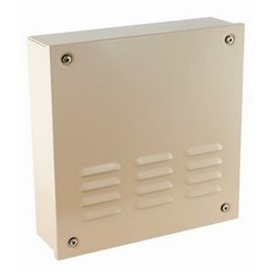 "Bell Box, Indoor/Outdoor, 12 Volt DC, 100 Milliampere, 100 dB, 14"" Width x 4"" Depth x 14"" Height, 18 Gauge Cold Rolled Steel, Powder Coated, Beige"