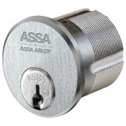 "Mortise Cylinder, Maximum Plus, Sub-Assembled, Horizontal, Profile 0A7, 1-1/8"" Length, Satin Chrome, With A65 Sidebar"