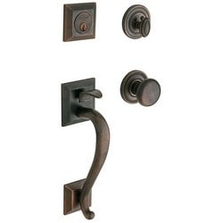 Door Sectional Trim, Madison, Full Dummy, Classic, Solid Forged Brass, Distressed Oil Rubbed Bronze, With Knob