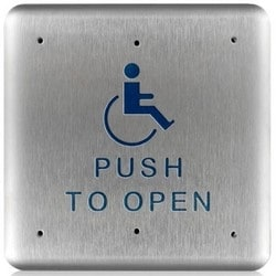 """Push Plate, Square, Push to Open, Handicap Logo, 4.75"""" Width x 0.62"""" Depth x 4.75"""" Height, 16 Gauge Stainless Steel Faceplate"""