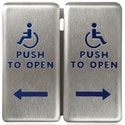 """Push Plate, Square, Push to Open, Handicap Logo, 4.75"""" Width x 0.62"""" Depth x 4.75"""" Height, 16 Gauge Stainless Steel Faceplate, 1/8"""" Thk Aluminum Backplate"""