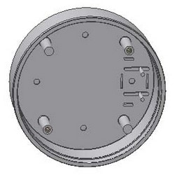 """Pushplate Mounting Box, Round, Surface Mount, 3 and 9 Volt Transmitter Compatibility, 6"""", ABS Plastic"""