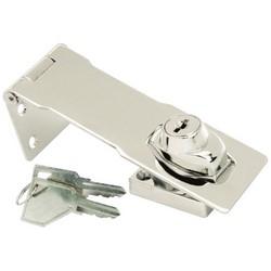 """Hasp Lock, Briggs/Stratton B1/Yale Y13 Key Blank, 4-1/2"""" Keyed Alike, 601 Key, Chrome Plated"""
