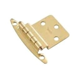 "Cabinet Hinge, Surface Mount, 3/8"" Offset, Polished Brass, 2 each per Pack"