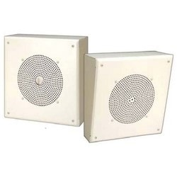 """Self-Amplified Speaker, Surface Mount, 92 dB SPL, 110 to 15000 Hertz, 2000 Ohm, 24 Volt DC, 50 Milliampere, 1 Watt, 8"""" Diameter Cone, Painted Steel, With Volume Knob Attached"""