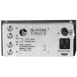 """Antenna Preamplifier Power Supply, 2-Output, F Female Connector, -21 Volt DC at 100 Milliampere, 60 Hertz, 75 Ohm, 8.25"""" Width x 2.25"""" Depth x 3.5"""" Height"""