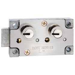 "Safe Deposit Lock, Miles Osborne X4 Group, Left Hand, Double Little Nose, 980 Guard Stack, 1/2"" Nose Height, Nickel"