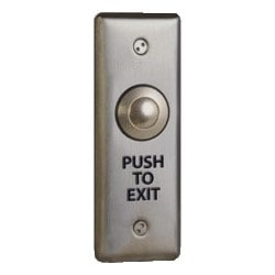 """Door Activation Device Push/Exit Switch, Vandalproof, Narrow Faceplate, DPDT, Momentary, 12/24 Volt DC, 1-3/4"""" Width x 1-1/8"""" Depth x 4-1/2"""" Height, PUSH TO EXIT Legend"""