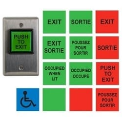 """Illuminated Push/Exit Switch, Universal, SPDT, Momentary, 12/24 Volt DC, 2-3/4"""" Width x 1-7/8"""" Depth x 4.5"""" Height, Square Button, With (14) English/French Insert Label"""
