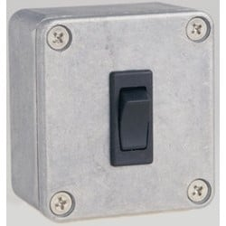 "Remote Door Release Rocker Switch, Surface Mount, SPDT, Momentary, 12 to 24 Volt DC, 20 Ampere, 2-1/2"" Length x 2-1/4"" Width x 1-3/8"" Depth, Brushed Aluminum"