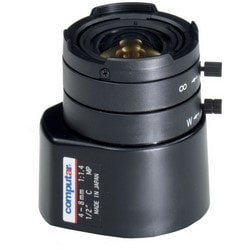 Camera Lens, Auto Iris, C Mount, 2x Zoom, 6.4 MM x 4.8 MM Image Format, 4 to 8 MM Focal Length, F1.4 to F360 Operation Range, 38.5 MM Diameter x 48.8 MM Height