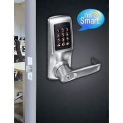 """Electronic Lock, Tubular Mortise Latch, Smart, Non-Handed, 12-Back-Lit Keypad, Spring Loaded Spindle, SFIC, 7-3/4"""" Height, Zinc Alloy, Brushed Steel, For Left/Right Hung Door"""