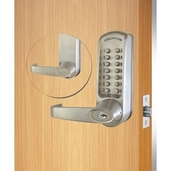 Mechanical Lock Latchbolt, Tubular, Mortise, Heavy Duty, Lever Handle, Spring Loaded Spindle, Zinc Alloy, PVD Brushed Steel, With Key Override, For Hung Door