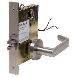 "Mortise Lock, Electrically Unlock, Schlage, C Keyway, 24 Volt AC/DC, 350 Milliampere, 8 Watt, Satin Chrome, With 2-7/16"" Diameter Trim, Lever, For Storeroom"