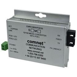 "Ethernet Media Converter, A-Unit, Commercial Grade, 2-Port, 1-Fiber, Multimode, ST, 100 Mbps Ethernet, 48 Volt DC, 4"" Length x 3.7"" Width x 1"" Height, With 48 Volt PoE, Mini"