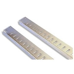 """Cabinet Mounting Rail, 1-Pair, Extra, L Shape, Threaded, 18U, 36"""" Height, Steel, Clear Chem"""
