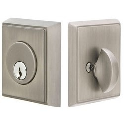 Door Deadbolt, Single Cylinder, Rectangular Style, Schlage C Keyway, Brass, Flat Black