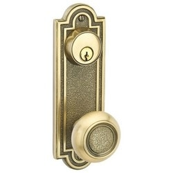 """Door Side Plate Lock Set, Single Cylinder, Belmont Keyed Style, AC Lever, Left Hand, 7-1/2"""" Length x 2-7/16"""" Width, Oil Rubbed Bronze, With Knob/Lever, Latch/Strike Plate"""