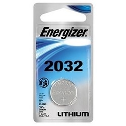 """Battery, Lithium Coin, 2032 Cell, 3 Volt, 240 Milliampere-Hr, 0.787"""" Diameter x 0.126"""" Thickness, Lithium/Manganese Dioxide Chemical, Blister Pack"""