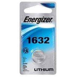 """Battery, Lithium Coin, 1632 Cell, 3 Volt, 130 Milliampere-Hr, 0.63"""" Diameter x 0.126"""" Thickness, Lithium/Manganese Dioxide Chemical, Blister Pack"""
