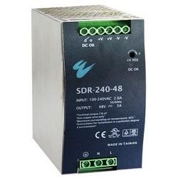 "Power Supply, DIN-Rail Mount, 48 Volt DC, 240 Watt, 5 Ampere, 2.52"" Width x 4.54"" Depth x 5"" Height, Aluminum Case"