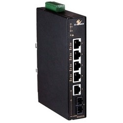 "Ethernet Switch, 4-Port, Unmanaged, Hardened, GB, 10/100Base-TX (4 x PoE), 10/100/1000Base-T, 18 to 57 Volt DC, 7 Watt, 1.18"" Width x 4"" Depth x 5.96"" Height"