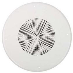 "Paging Speaker, Round, Ceiling Mount, 8"" Dual Pulp Woofer, 92 dB Sensitivity, 25/70 Volt, 5 Watt, 50 Hertz to 15 Kilohertz, 8 Ohm Impedance, 16 Gauge Steel, Pure White Enamel"