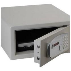 "Laptop Safe, 15-3/4"" Width x 16-5/8"" Depth x 7-9/16"" Height, Steel, Light Gray, With (4) AA 1.5 Volt Battery"
