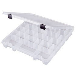"""Compartment Box, 8-Compartment, 13-1/8"""" Length x 13-1/8"""" Width x 1-3/4"""" Depth Inside, Polypropylene, Translucent, With (20) Removable Divider, Latch, Black Handle"""