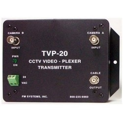 """CCTV Camera Transmitter Video Plexer, 2-Channel, NTSC Standard, 75 Ohm Impedance, 24 Volt AC, 5.5"""" Length x 4.3"""" Width x 2"""" Depth, With Power on Indicator LED"""
