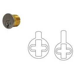 """Mortise Cylinder, Schlage C Keyway, Keyed Alike, 2-Key Blank, 1"""" Length, Solid Brass, Satin Chrome, With Custom Stamped Face Instruction Adams Rite/Sargent Cam"""