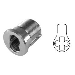 """Mortise Interchangeable Core Housing, 6-Pin, Standard Cam, 1-1/4"""" Length, Solid Brass, Satin Chrome, For 6-Pin Core"""