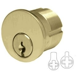 "Mortise Cylinder, Schlage C Keyway, Standard Yale/Adams Rite Cam, Keyed Alike, 2-Key Blank, 1-1/8"" Length, Solid Brass, Bright Brass"