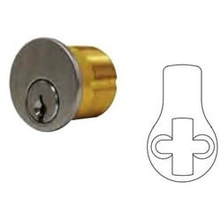 "Mortise Cylinder, 6-Pin, CSA Keyway, Standard Yale Cam, 0-Bitted, 2-Key Blank, 1-1/4"" Length, Solid Brass, Satin Chrome"