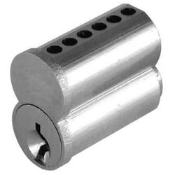 Cylinder Lock Interchangeable Core, Small Format, 6-Pin, E Keyway, Uncombinated, Barrel Cap, Solid Brass, Satin Chrome