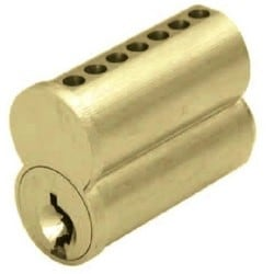 Cylinder Lock Interchangeable Core, Small Format, 7-Pin, DG Keyway, Uncombinated, Barrel Cap, Solid Brass, Satin Chrome