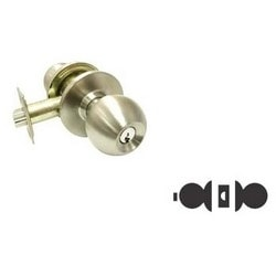 Cylindrical Knobset, B-Knob, Grade-3, Square Latch, 2-Way Adjustable Backset, ANSI F76 T-Strike, Antique Brass, For Privacy