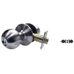 "Cylindrical Knobset, B-Knob, Grade-2, Square Latch, 2-3/8"" Backset, ANSI F76 Strike Kit, Dark Bronze, For Privacy"